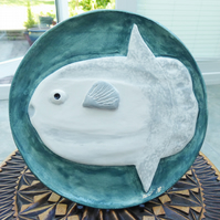 Ocean Sunfish Ceramic Plate - Hand Sculpted - by Jacqueline Talbot Designs