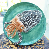 Cuttlefish Ceramic Plate - Hand Sculpted - by Jacqueline Talbot Designs
