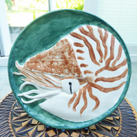 Nautilus Ceramic Plate - Hand Sculpted - by Jacqueline Talbot Designs