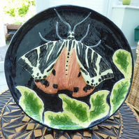 Tiger Moth Ceramic Plate - Hand Sculpted - by Jacqueline Talbot Designs