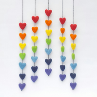 Felt rainbow hearts wall hanging mobile