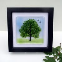 Oak Tree picture in fused glass