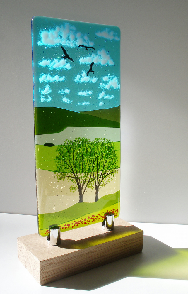 Summer Tree with Red Bird Handmade Fused Glass Panel on Copper