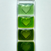Green Heart fused glass hanging