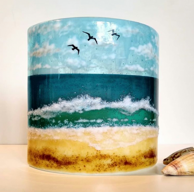 Incoming Tide fused glass curve