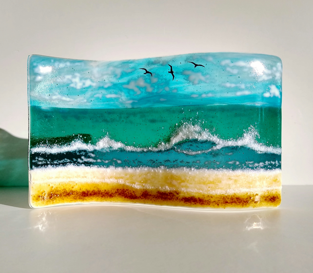 Incoming Tide fused glass wave