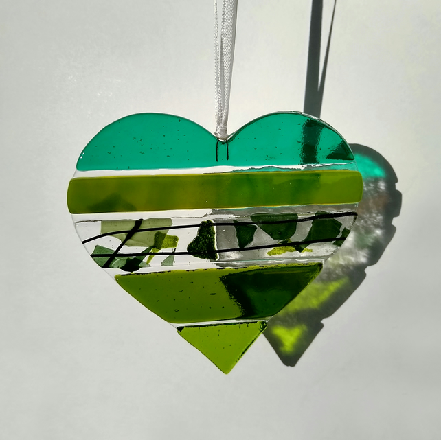 Green textured fused glass light-catcher