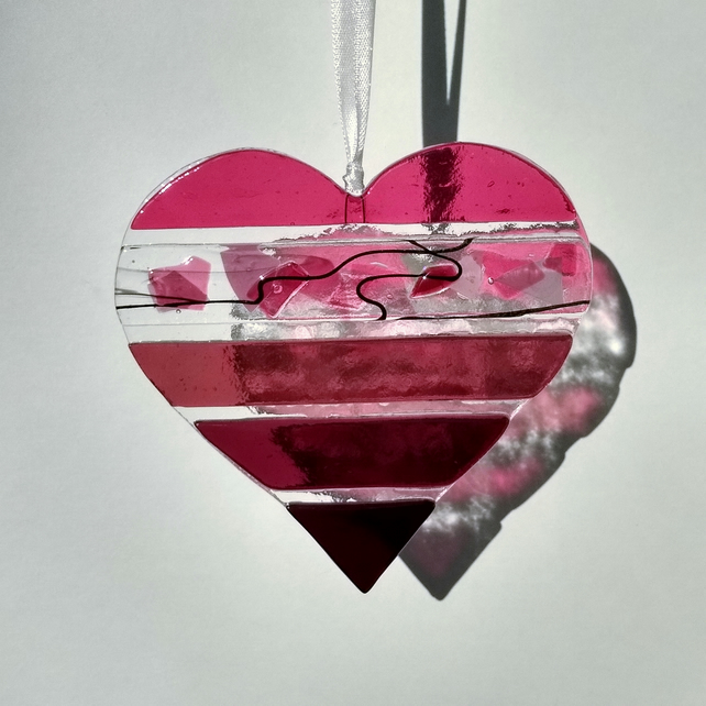 Pink textured fused glass heart light-catcher