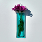 Aqua fused glass wall vase