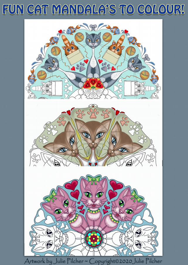 Colouring pages, 3 A4 Mandala's, Cat Design Images, Fun, Hand Drawn
