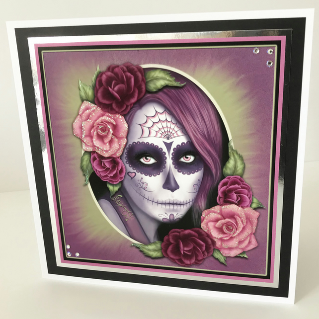Personalised Hand Made Embellished Sugar Skull Halloween - Birthday Card