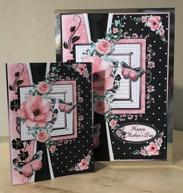 Luxury Pink Butterflies & Flowers Mothers Day Card A5 with Gift Tag Personalised