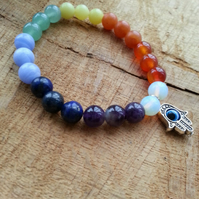 Chakra Hamsa hand all seeing eye charm stretch bracelet. Various stones