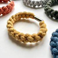 Yellow ochre hand knotted cotton rope bangle.
