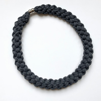 Charcoal grey cotton hand knotted rope necklace.