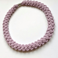 Pale lilac hand knotted cotton rope necklace.