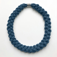 Blue hand knotted collar necklace.