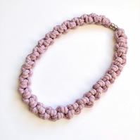 Statement lilac hand knotted cotton rope necklace.