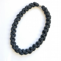 Chunky knotted slate grey cotton necklace.