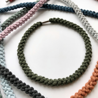 Olive green hand knotted narrow cotton rope necklace.