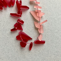 Raspberry and blush pink block colour long acrylic necklace.