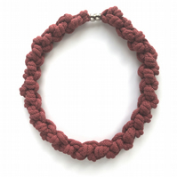 Chunky raspberry pink cotton hand knotted necklace.