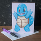 Squirtle Pokemon Inspired Greetings Card by artist Purple Faye
