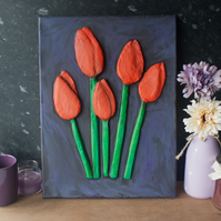 Tulips 3D Acrylic Painting by Yorkshire Artist Purple Faye