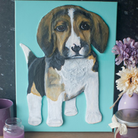 Beagle Puppy 3D Acrylic Painting by Yorkshire artist Purple Faye