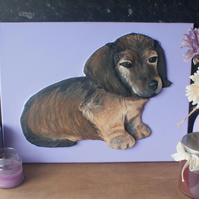 Dachshund Sausage Dog Puppy 3D Acrylic Painting by Yorkshire artist Purple Faye