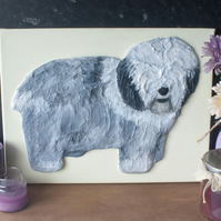Old English Sheepdog 3D Acrylic Painting by Yorkshire artist Purple Faye