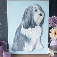 Bearded Collie 3D Acrylic Painting by Yorkshire artist Purple Faye