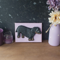 Small Dachshund Sausage Dog 3D Acrylic Painting by Yorkshire artist Purple Faye