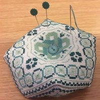 Large Emerald Biscornu Pincushion, Cross Stitch Kit
