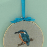 Embroidered Hoop Art Wall hanging - Kingfisher