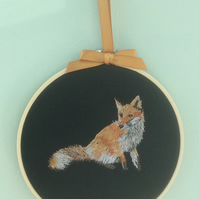 Embroidered Hoop Art Wall hanging - Fox