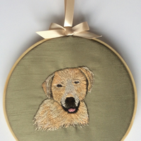 Hand Embroidered Hoop Art - Labrador Retriever Dog