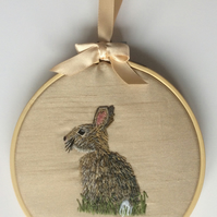 Hand Embroidered Hoop Art - Rabbit