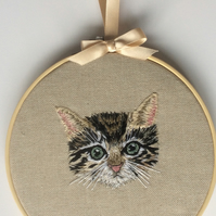 Hand Embroidered Hoop Art - Cat