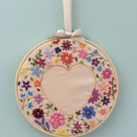 Hand Embroidered Wall Art - Floral Heart on peach.