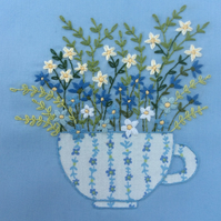 Hand embroidery kit - Teacup Flowers - Flora
