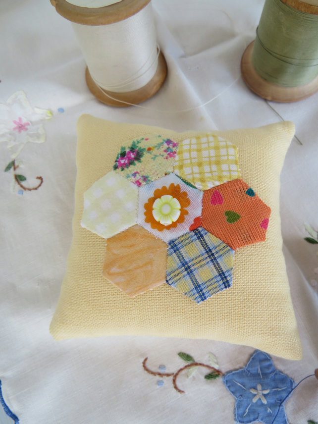 Little Hexi yellow pin cushion