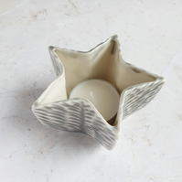 Grey star tealight holder
