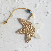 Christmas Gold and White Snowflake