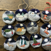 Christmas Felted wooden Hanging Decoration. Beautiful individually Handmade