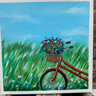 """Acrylic Painting. Bicycle. Flower Basket. 10"""" by 10"""". Flat Canvas"""