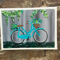 """Acrylic Painting. Blue Bicycle. Flower Basket. 9"""" by 12"""". Flat Canvas."""