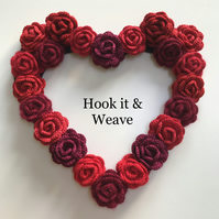 Roses are Red Crochet Hanging Heart Wreath