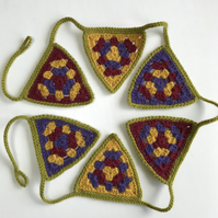 Crochet bunting with granny triangles