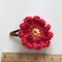Crocheted Cotton Red Flower Hair Clip
